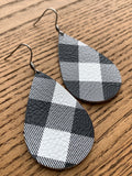 Buffalo Plaid Earrings, White and Black, Leather