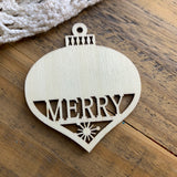 "Merry Wooden Ball Ornament - 3"" (1)"