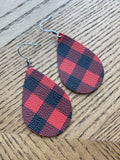 Buffalo Plaid Earrings, Red and Black