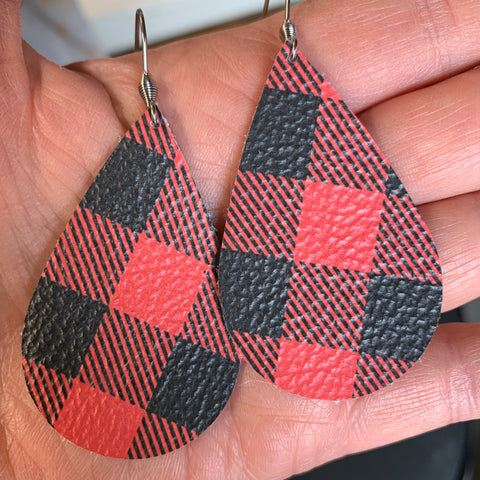 Buffalo Plaid Earrings, Red and Black, Leather