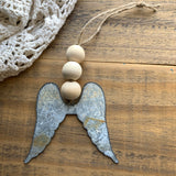 Farmhouse Bead Angel Wing Ornament (1)