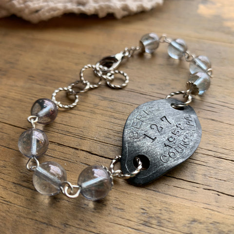 1952 Vintage Steel Dog Tag Bracelet