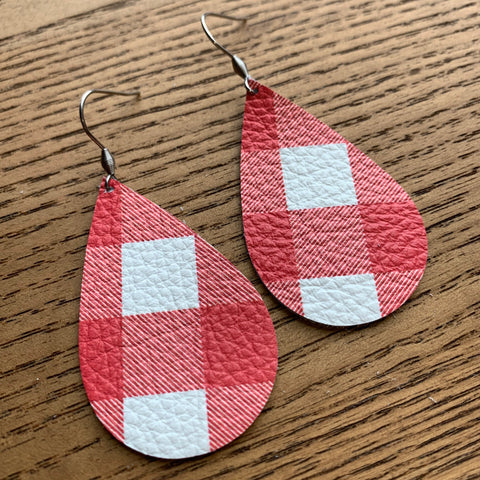 Buffalo Plaid Earrings, White and Red, Leather
