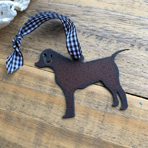 Labrador Retriever Ornament, Black & White Ribbon