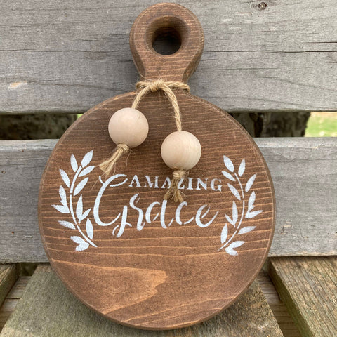 Amazing Grace Round Cutting Board, Mini Kitchen Sign