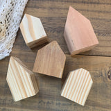 Set of 5 Mini Wooden Houses, Unfinished.