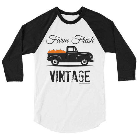 Farm Fresh Vintage Pumpkin Shirt, 3/4 Sleeve Raglan