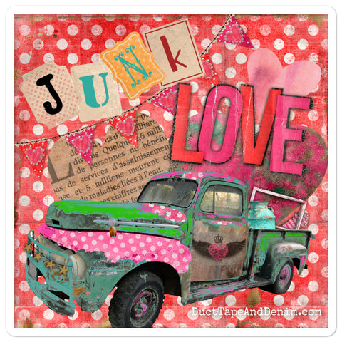 Junk Love Vintage Truck Sticker