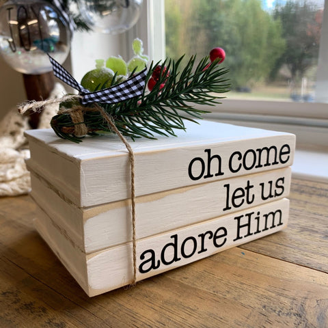 Oh Come Let Us Adore Him Christmas Book Stack