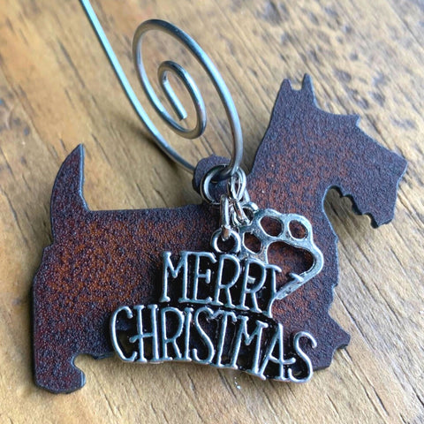 Scottish Terrier Christmas Ornament, Rustic Metal Scottie Dog Ornament