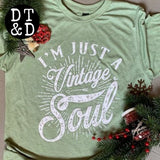 I'm Just a Vintage Soul Crew-Neck T-Shirt - Heather Green