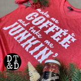 Make Me Coffee and Take Me Junkin' V-Neck T-Shirt, Heather Red