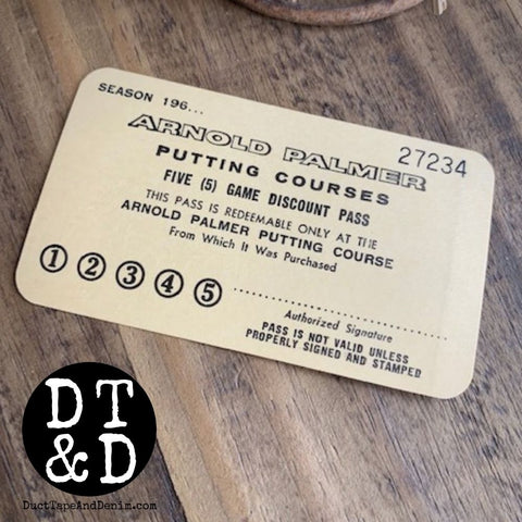 Vintage Arnold Palmer Putting Course Ticket