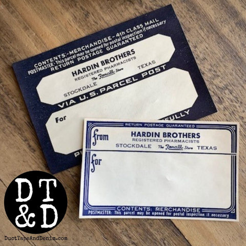 Set of 2 Vintage Pharmacy Labels