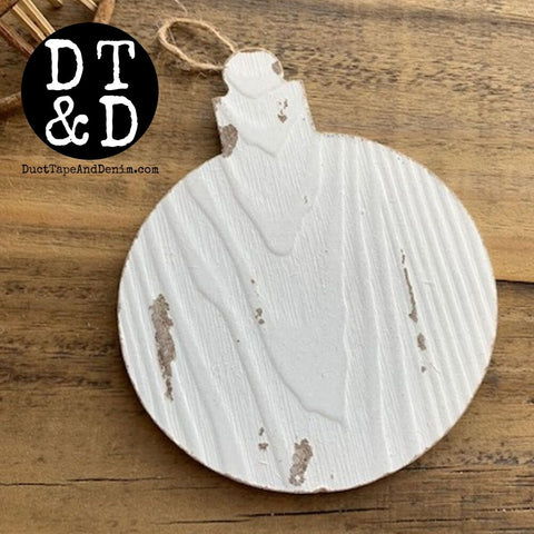 Whitewashed Wooden Christmas Ball Ornament #1