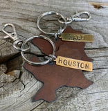Rustic Texas Keychain with City Tag