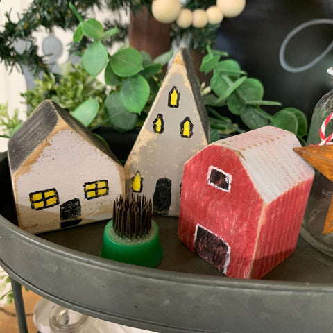 Set of 5 Painted Houses