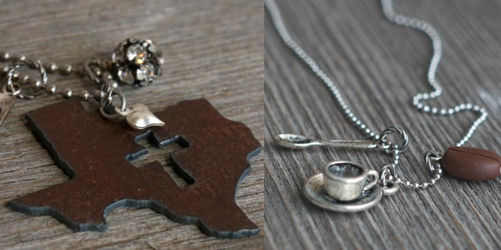 Handmade Texas necklace and coffee necklace
