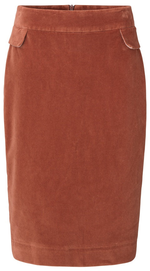 Stretch Velvet Skirt - Henna