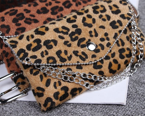 LEOPARD PRINT CLUTCH WITH LEOPARD BELT!