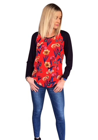 ROAD TRIPPING TOP - RED FLORAL/NAVY KNIT