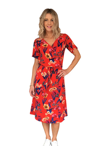 KATE WRAP DRESS - RED FLORAL