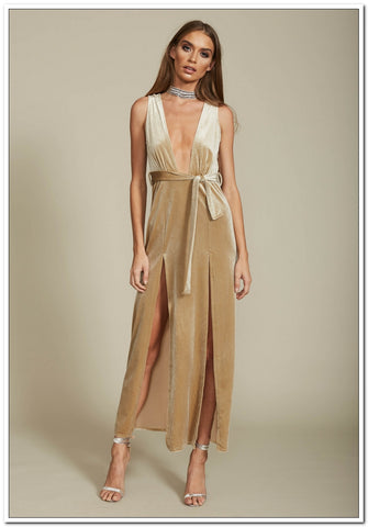 Shut It Down Velvet Dress - Nude Luxe!