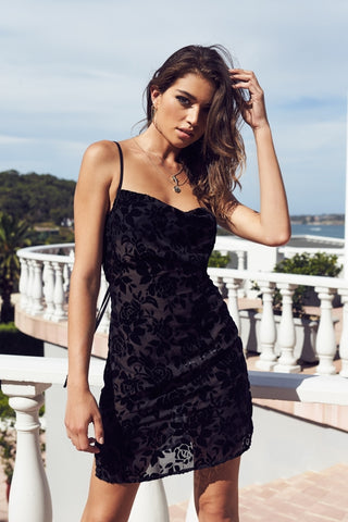 Mixed Message Mini Dress - Black Rose Burnout