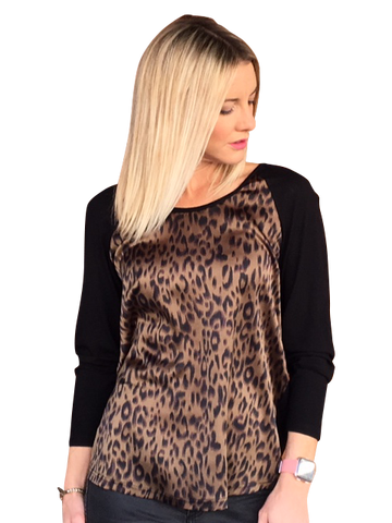 ROAD TRIPPING TOP - GREEN ANIMAL PRINT/BLK KNIT