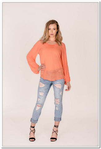 Amelie Top - Coral - FashionLife  - 1