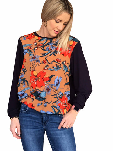 NAPA PRINT TOP WITH NAVY SLEEVES