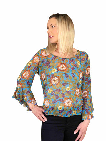 Carla Top - Turquoise Paisley Print