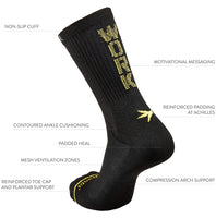 Black-yellow-athletic-crew-sock-work-hard-knitted-on-rear
