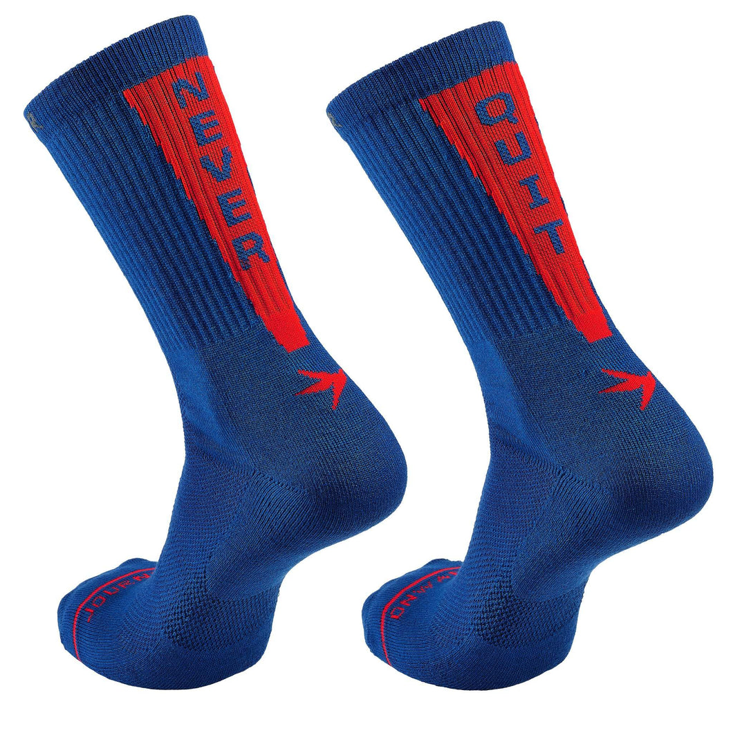 Inspyr Socks NEVER QUIT Athletic Crew Sock