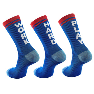 "Inspyr Socks ""Work Hard Play"" Tri Inspirational Crew Socks"