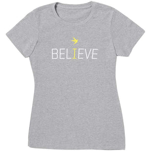 "Inspyr Socks Women's ""Believe"" T-Shirt - Light Grey"