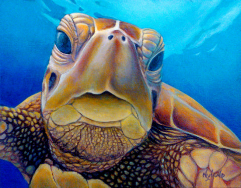 """Welcome, Friend""  Green Sea Turtle Honu Reproduction of Oil Painting, Giclee on Canvas"