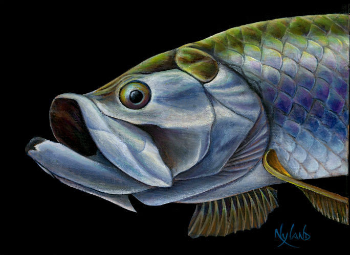 "Atlantic Tarpon, Sabalo Fishing Print V.E. Series Fish Art ""King of Islamorada"""
