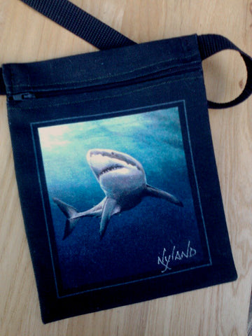 Great White Shark Cross-Body Essentials Bag Art by NYLAND