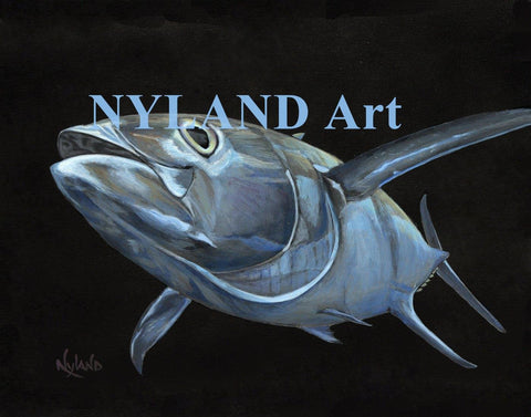"Yellowfin Tuna Fishing Print, V.E.Series,  ""Flying Ahi"" Fish Art"