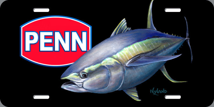 PENN Fishing Yellowfin Ahi Tuna Fishing Metal License Plate