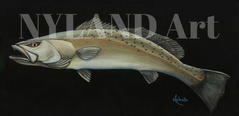 "Speckled Trout, Spotted Seatrout, Speck Fishing Print V.E. Series Fish Art ""Speckled Trout"""