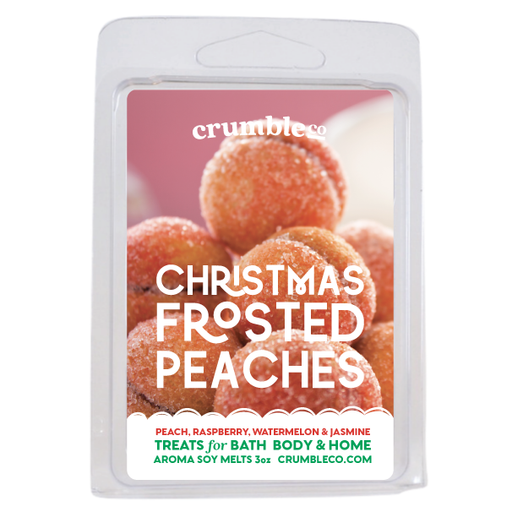 Christmas Frosted Peaches Wax Melts - Fragrant Wax Melts & Wax Cubes | Crumble Co. Scented Wax Bars & Candles