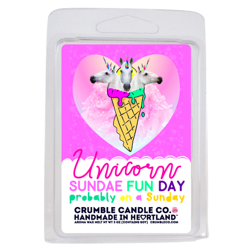 Unicorn Sundae Fun Day Wax Melts - Fragrant Wax Melts & Wax Cubes | Crumble Co. Scented Wax Bars & Candles