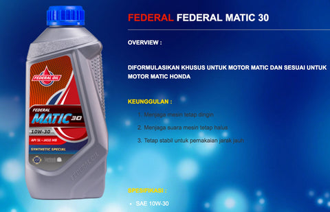 Federal Matic 30 Indonesia Oli Beli