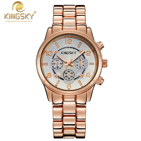 020003-2#KINGSKY Watch Lady Watch Rose Gold Case Three Watch Eyes Dial Rose Alloy Band Analog Japan Quartz New Dress Series