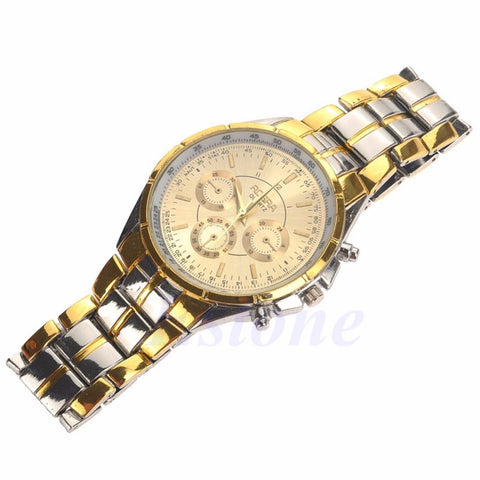 1 PC Fashion Men's Luxury Date Gold Dial Steel Strap Military Army Quartz Wrist Watch