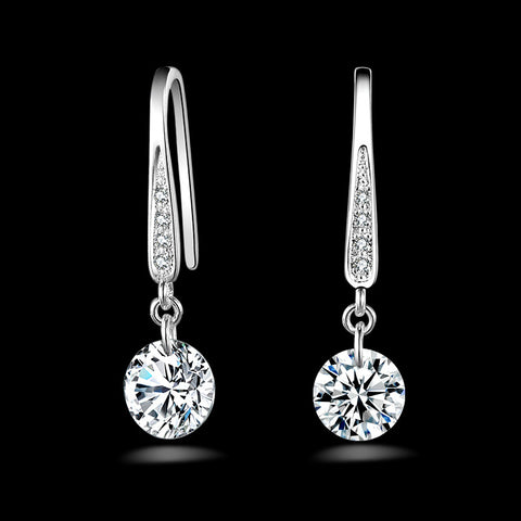 1 Pair 925 Sterling Silver Popular Fashion New Cubic Zirconia Long Dangle Earrings for Women and Girls