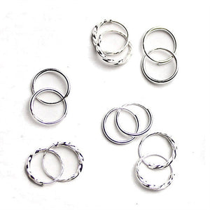 1 Pair Simple Shiny Smooth Small Wave Big Wave Hoop Snap Closure Circle Earrings