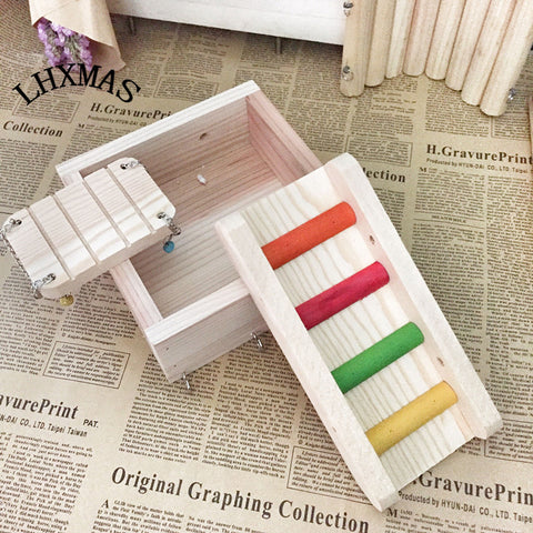 1 Set/3pcs Bird Toys Wooden Parrot Toy Ladder Swing Shelf Squirrel Toy Rat Hamster Toys Cage Accessories D175